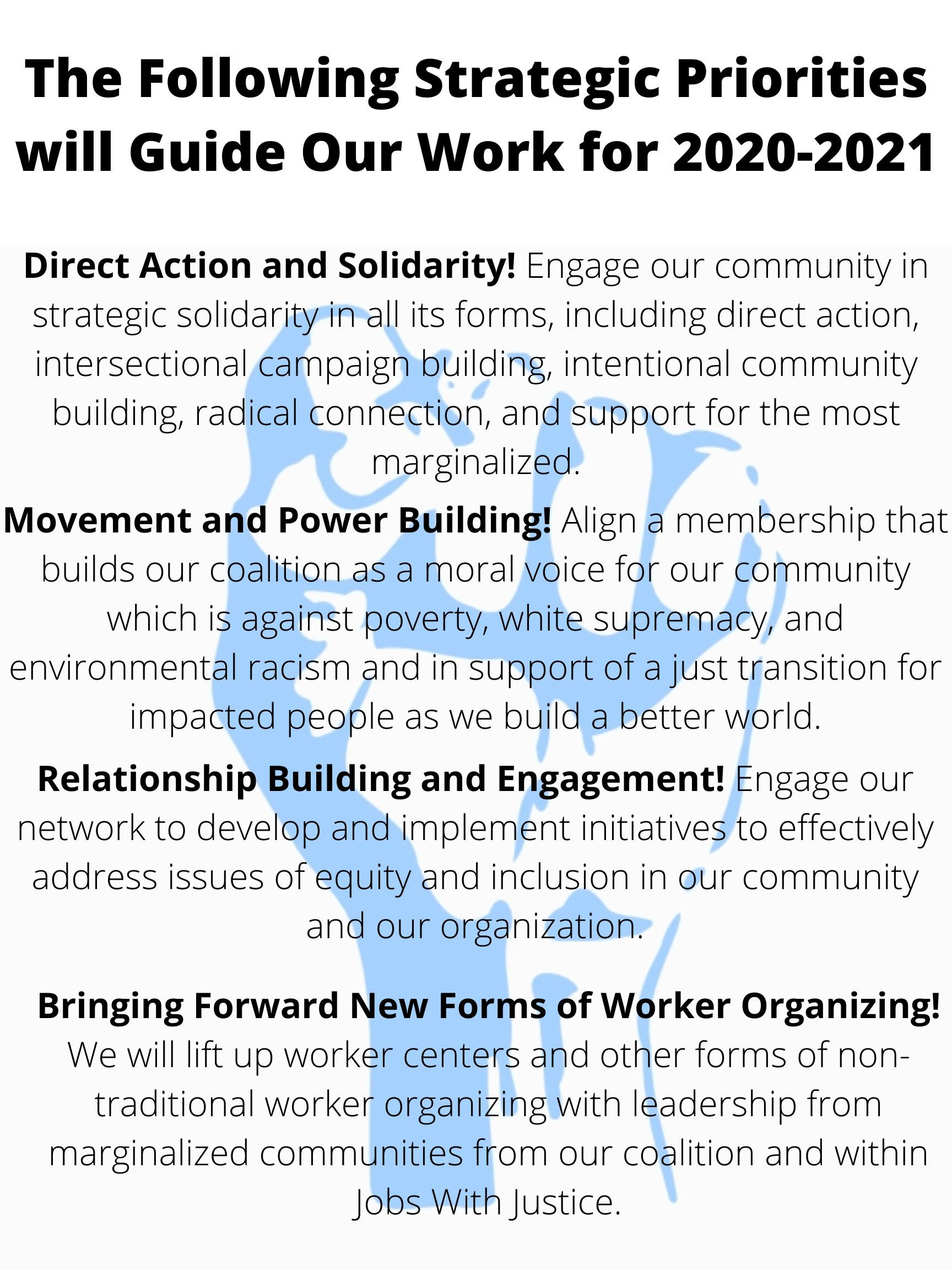 The Following Strategic Priorities will Guide Our Work for 2020-2021